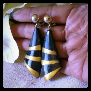 Vintage Art Deco Stone Dangle Earrings